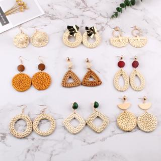 Best lady Handmade Drop Round Earrings For Women Wooden Straw Weave Rattan Wedding Party Gift Tren