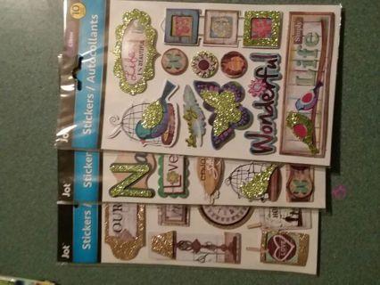 3 Packs of Glitter Stickers