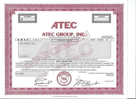ATEC Group specimen stock certificate