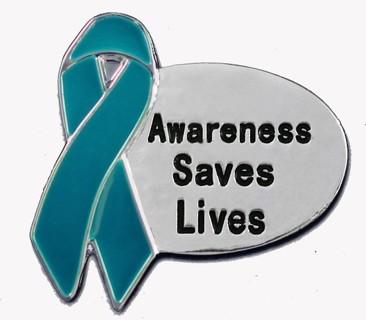 """""""AWARENESS SAVES LIVES"""" SILVER PIN"""