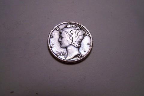 Silver 1925 Winged Liberty Head Mercury Dime