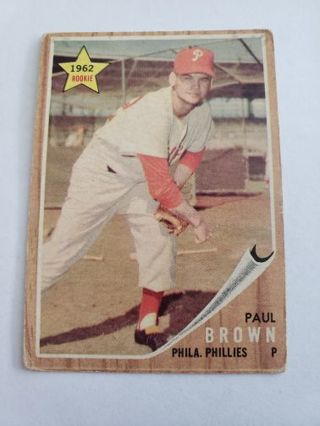 1962 topps Paul Brown Philadelphia Phillies vintage baseball card
