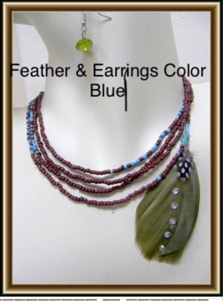 1Set Beaded Feathers Necklace Earrings Set
