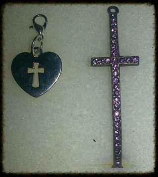Heart shaped cross keychain &pink cross bracelet charm for jewelry makeing