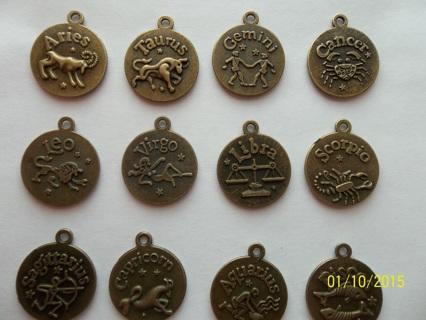 Pick One! ***ZODIAC*** Astrology*Symbol*Bronzetone*Charm