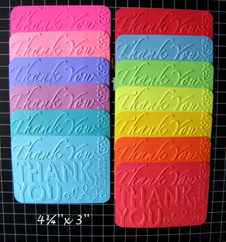 *50 Embossed THANK YOU'S [''tuck-ins'']