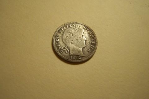 Silver 1912-D Barber Dime