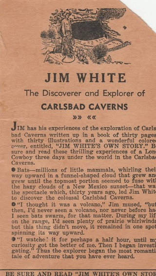 """Jim White Carlsbad Caverns Handbill Card Flyer Old and Original """"Jim White's Own Story"""""""