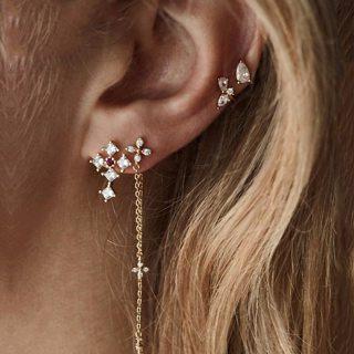4 Pcs/Set Bohemian Retro Gold Cross Flower Water Drops Crystal Chain Pendant for Womens Wedding Stud