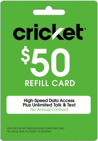 Cricket wireless prepaid cell phone $50 refill card