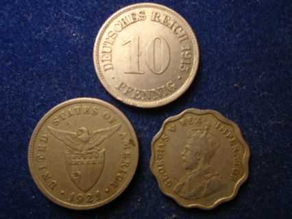 1915 1921 & 1934 OLD WORLD COINS...FULL DATES!