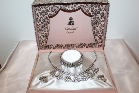 Vintage Corday Originals Rhinestone Parure Set W/ Original Set
