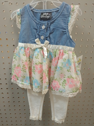 NWT! DDG-DARLINGS - Baby Girls 2 pc Set Size 0-3mths 60% Cotton 40% Polyester