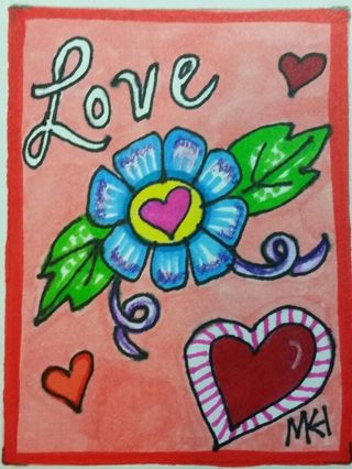 Love- Valentine - #202 My Original MK Drawing ATC / ACEO print enhanced with gel pens