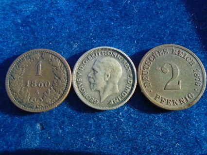 1860 1876 & 1929 OLD WORLD COINS WITH SILVER FULL DATES!