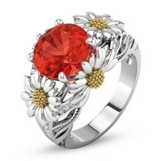 Red Crystal Rhinestone Flower Ring Size 9