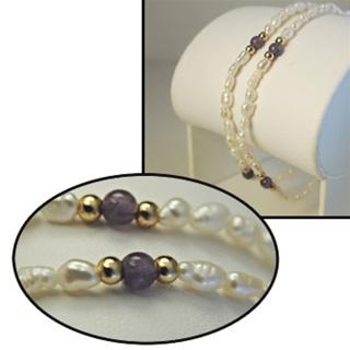 "Biwa Pearl Amethyst Bracelet 2 strand gemstone 7.5"" yellow gold plate bead NWT"