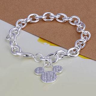 [GIN FOR FREE SHIPPING] 925 Sterling Silver Jewelry Mickey Mouse Chain Bracelet