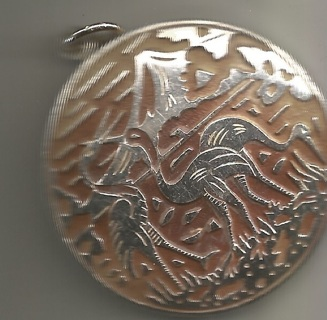"""One Large Round (2"""") Silver Tone Pendant w/ Pink Wash - Birds & Mountains"""