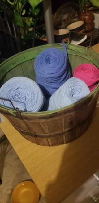 Fettuccini Thick Very Soft Yarn*Combined 115 yards. Lt. Blue, Dk. Blue and Pink