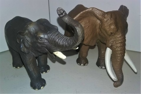 2 Schleich Elephant figurines - heavy epoxy resin material - African & Indian elephants VG condition