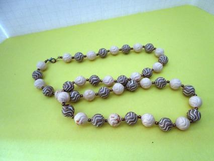 Brown & Beige Beaded Necklace
