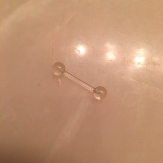 New, clear plastic tongue ring!