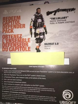 PS4 Division 2 Capitol Defender Pack unused code