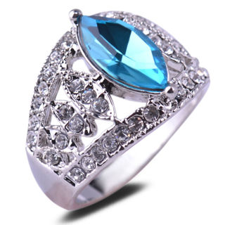 Women Silver Plated Marquise Blue Gemstone Crystal Ring Size 6 5 8 9 Jewelry