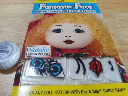 Iron-On/Sew-On Doll Face Applique