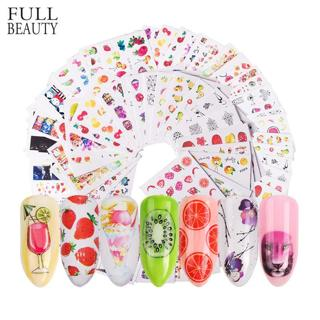 58 pcs/set Mixed Colorful Nail Sticker Fashion Fruit/Cake/Flower Water Transfer Wraps Tips Nail De