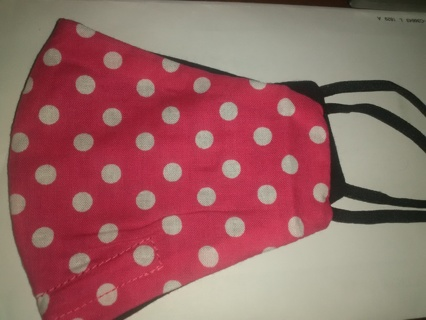 Pink with white dots face mask