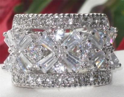 CUBIC ZIRONIA WHITE CRYSTAL & RHODIUM RING NEW SELECT SIZE BREATH TAKING WIDE BAND HIGH QUALITY!!!!