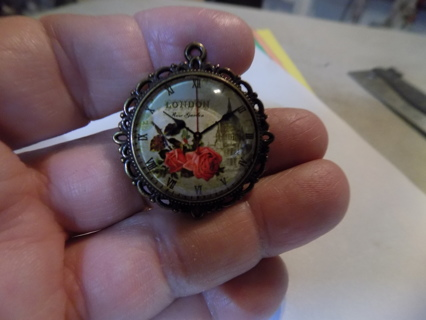 glass domed pendant charm clock face & roses, London