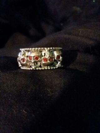 925 Stamped Ruby Skull Ring sz8