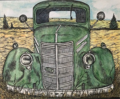 VINTAGE MACK TRUCK ~ Card by artist Nina Struthers - GIN ONLY