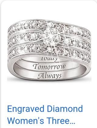 BRADFORD EXCHANGE 925 ENGRAVED TODAY, TOMORROW, ALWAYS WEDDING RING SET