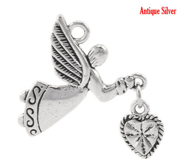 2 Angel Love Heart Charm