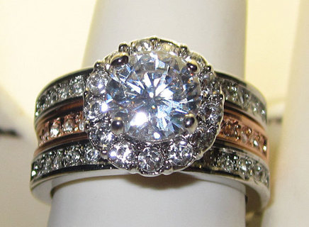 WHITE & ROSE GOLD CUBIC ZIRCONIA & WHITE CRYSTALS RING NEW SELECT YOUR SIZE WEAR ONE OR BOTH RINGS!!