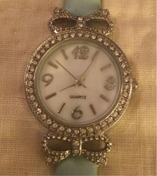 Tiffany blue rhinestone bow watch