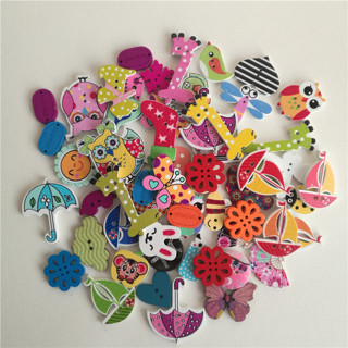 [GIN FOR FREE SHIPPING] 50Pc Mixed Animals 2Hole Wooden Buttons