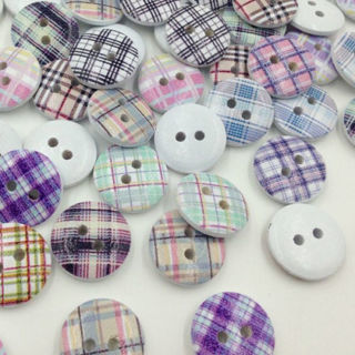 [GIN FOR FREE SHIPPING] 50Pcs Grid Wood Buttons Sewing