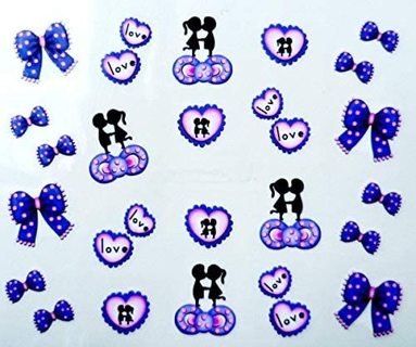 Love Bows Kissing Couple Nail Art Sticker Decals Water Transfer Manicure Decorations (20 stickers)