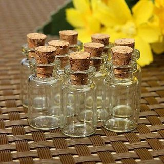 10 pcs x SMALL CORK GLASS STOPPER BOTTLES VIALS JARS 23 x 12mm