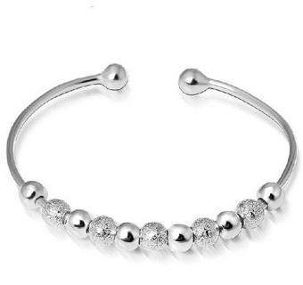 Men Womens Stylish Silver Tone Round Bead Charm Bracelet Bangle Jewelry Gift New