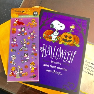 Halloween Letter/Correspondence/Stationary Set: Card + Stickers with Snoopy and Disney Mickey Mouse