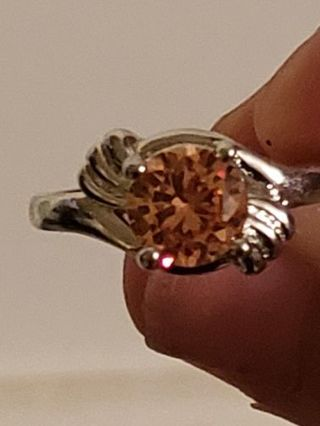 Size 10 Orange/Yellow stone Sterling silver setting