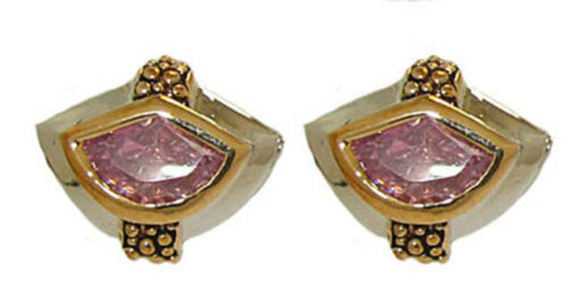 Earrings pink green 2 tone gold plate quality jewelry designer unique NWT