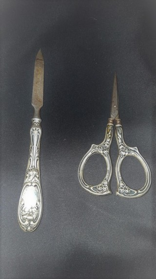 Vintage Sterling Silver Flower Scissors and Nail File