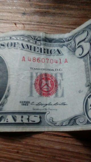 Red note 1963 5 Dollar bill